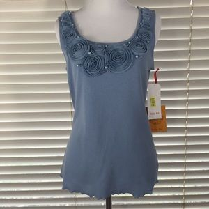 f604b214323 Ruby Rd. Tops - Ruby Rd. Blue Embellished Sleeveless Top S NWT